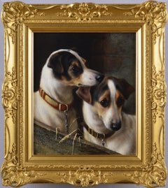 19th Century dog portrait oil painting of two terriers