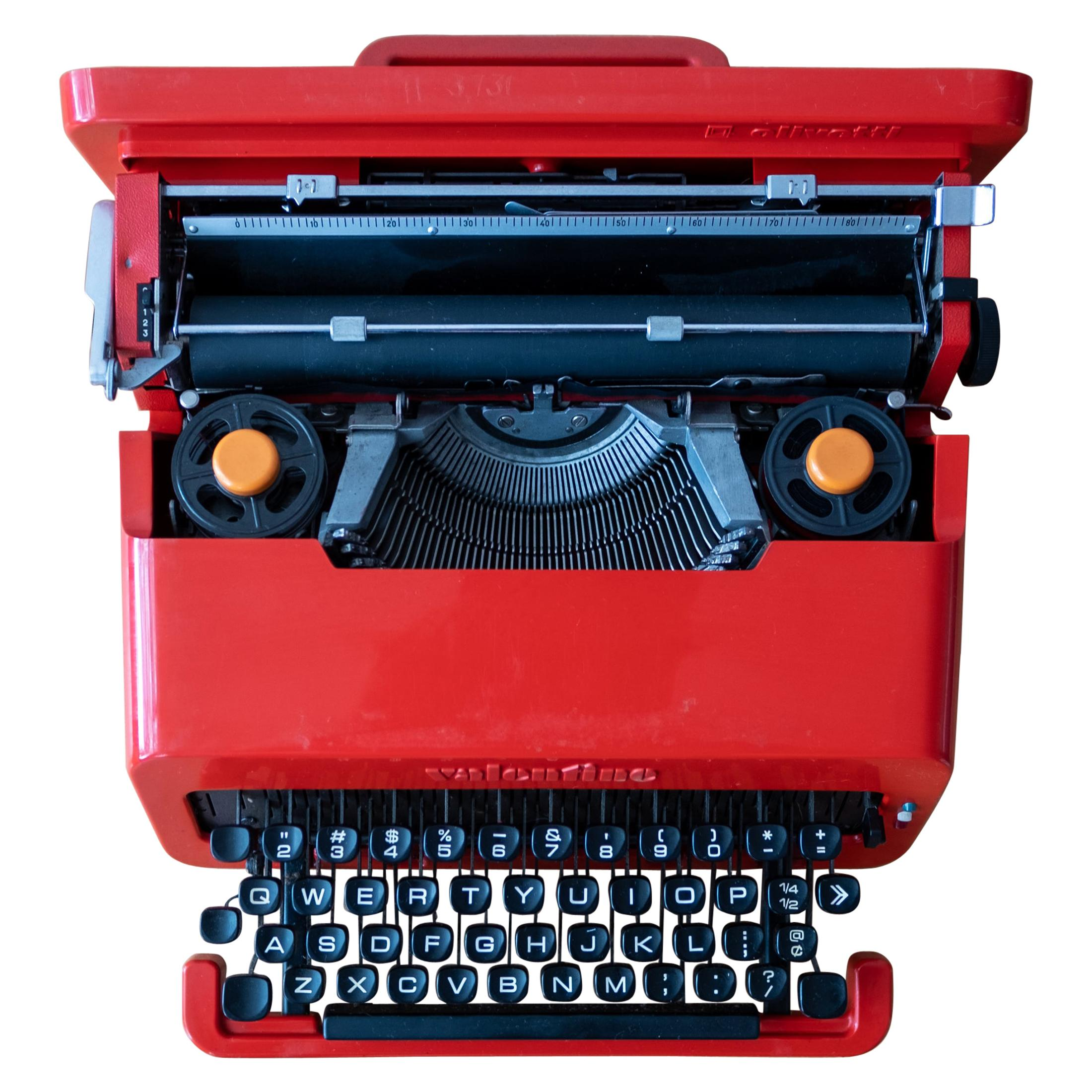Valentine Typewriter by Ettore Sottsass & Perry King with Olivetti Hang Tag