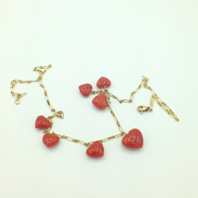 Petronilla Red Coral Heart Necklace Handmade in Italy 18 Karat Gold For Sale 1
