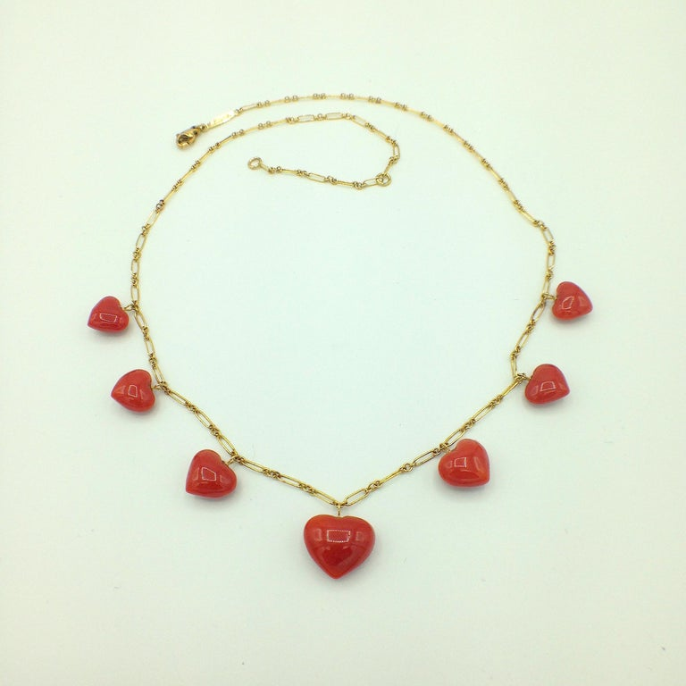 Women's Petronilla Red Coral Heart Necklace Handmade in Italy 18 Karat Gold For Sale