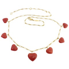 Valentine's Day Red Coral Heart Necklace Handmade in Italy 18 Karat Gold