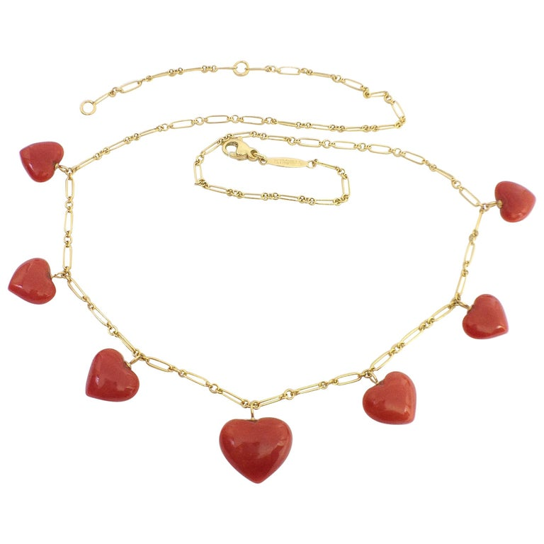 Petronilla Red Coral Heart Necklace Handmade in Italy 18 Karat Gold For Sale