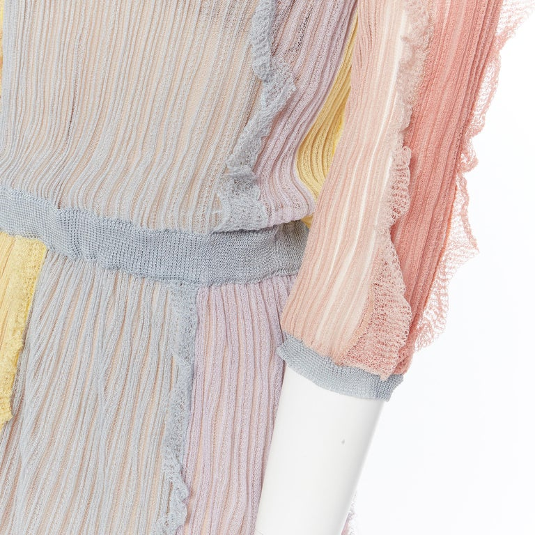 VALENTINO 100% silk knit pastel colorblocked ruffle trimmed 3/4 sleeves dress L For Sale 5
