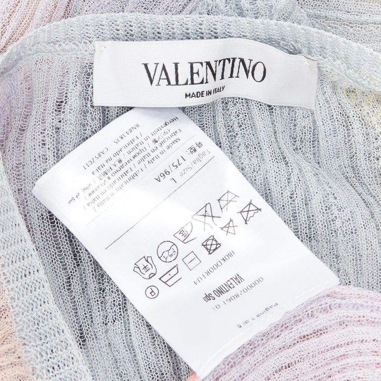 VALENTINO 100% silk knit pastel colorblocked ruffle trimmed 3/4 sleeves dress L For Sale 7