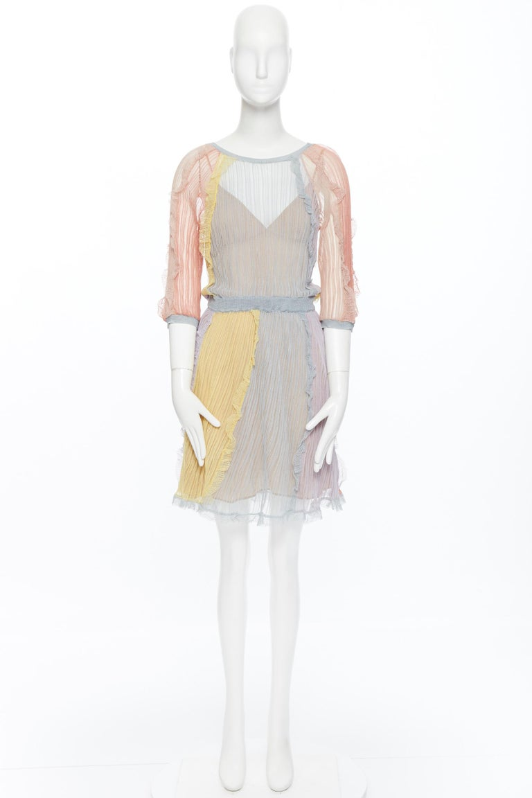 Beige VALENTINO 100% silk knit pastel colorblocked ruffle trimmed 3/4 sleeves dress L For Sale