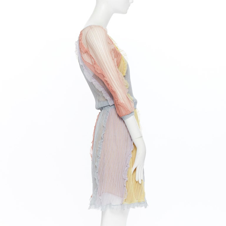 Women's VALENTINO 100% silk knit pastel colorblocked ruffle trimmed 3/4 sleeves dress L For Sale