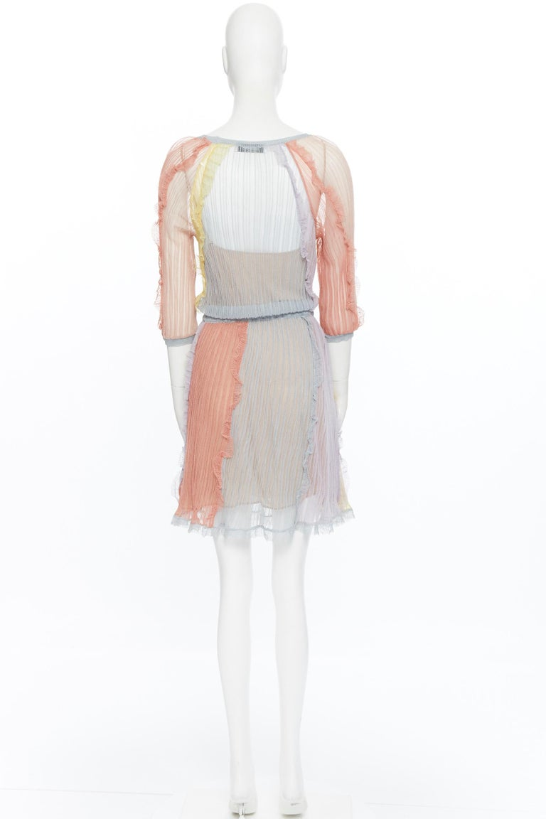 VALENTINO 100% silk knit pastel colorblocked ruffle trimmed 3/4 sleeves dress L For Sale 1