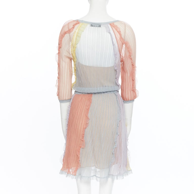 VALENTINO 100% silk knit pastel colorblocked ruffle trimmed 3/4 sleeves dress L For Sale 2