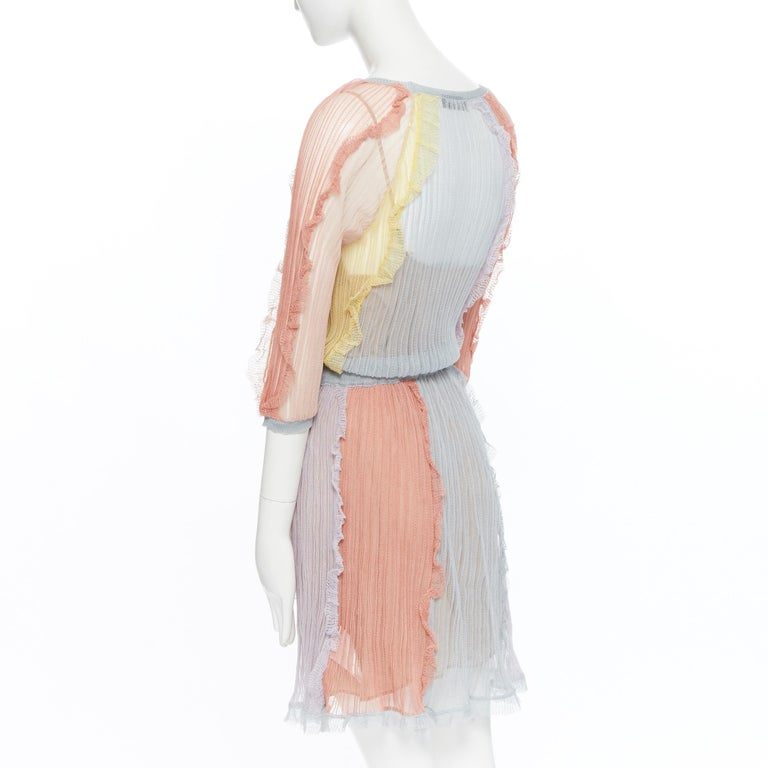 VALENTINO 100% silk knit pastel colorblocked ruffle trimmed 3/4 sleeves dress L For Sale 3