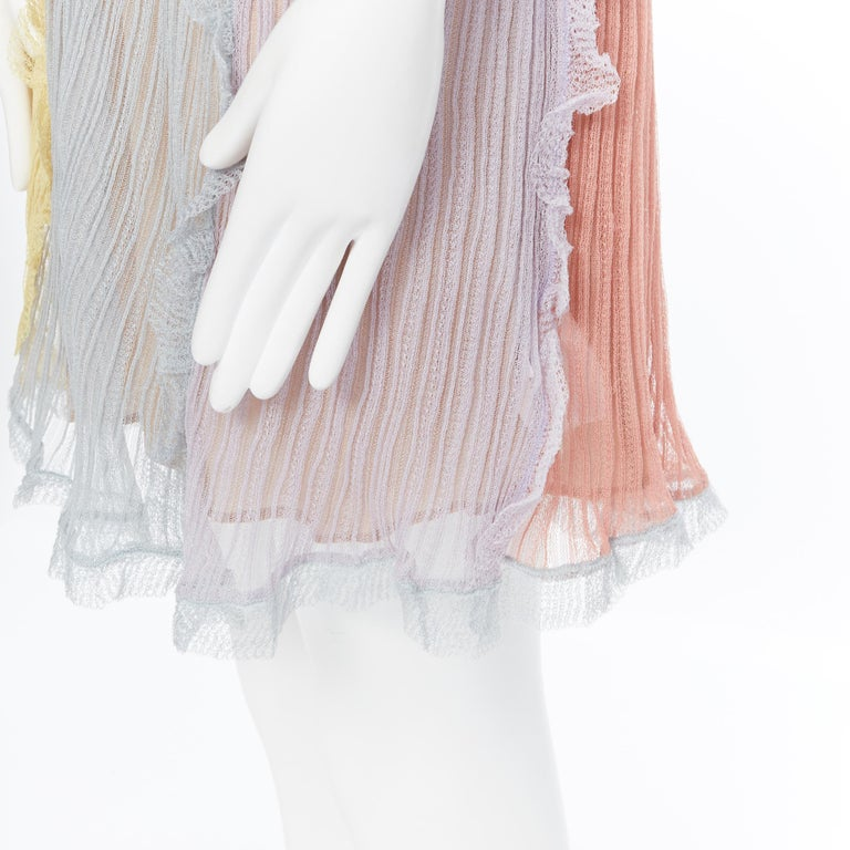 VALENTINO 100% silk knit pastel colorblocked ruffle trimmed 3/4 sleeves dress L For Sale 4