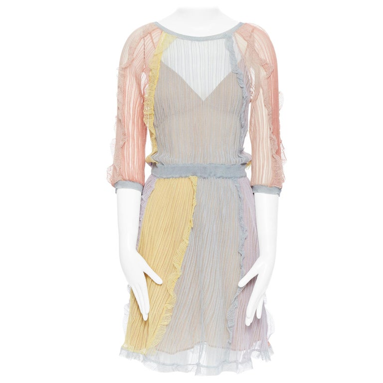 VALENTINO 100% silk knit pastel colorblocked ruffle trimmed 3/4 sleeves dress L For Sale