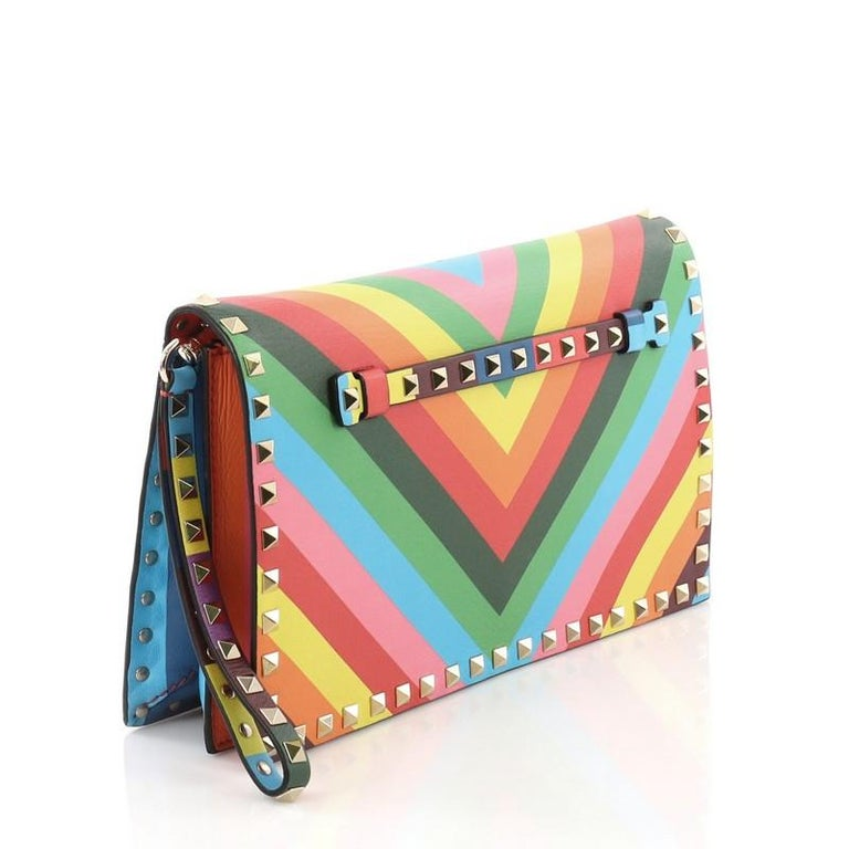 Brown Valentino 1973 Rockstud Flap Clutch Striped Leather For Sale