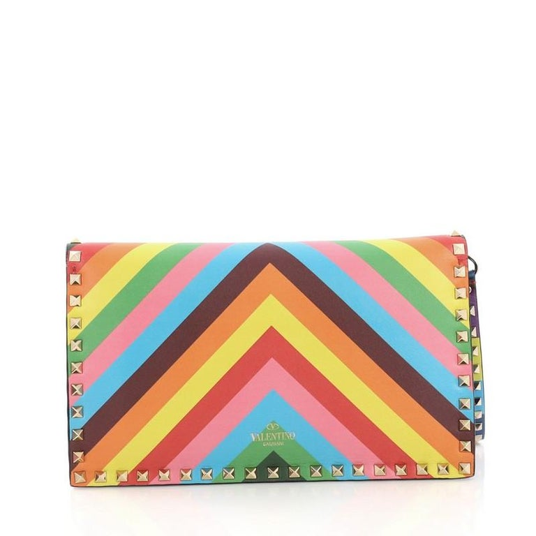 Valentino 1973 Rockstud Flap Clutch Striped Leather In Good Condition For Sale In New York, NY
