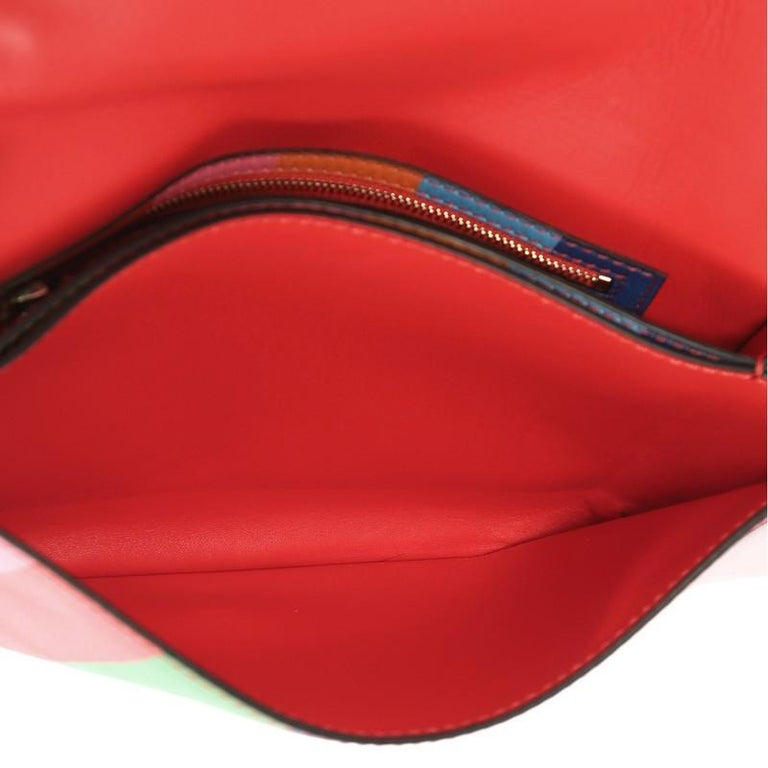 Valentino 1973 Rockstud Flap Clutch Striped Leather For Sale 1
