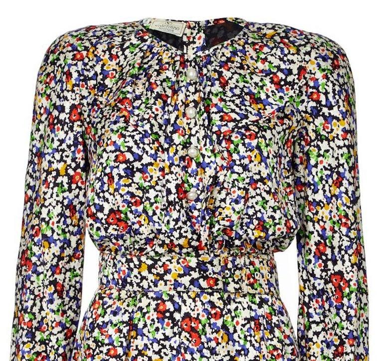 Gray Valentino 1980s Floral Print Silk Shift Dress For Sale