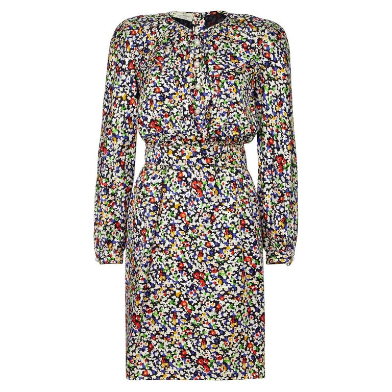 Valentino 1980s Floral Print Silk Shift Dress For Sale