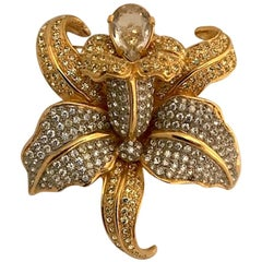 Valentino 1980s Orchid Flower PIn