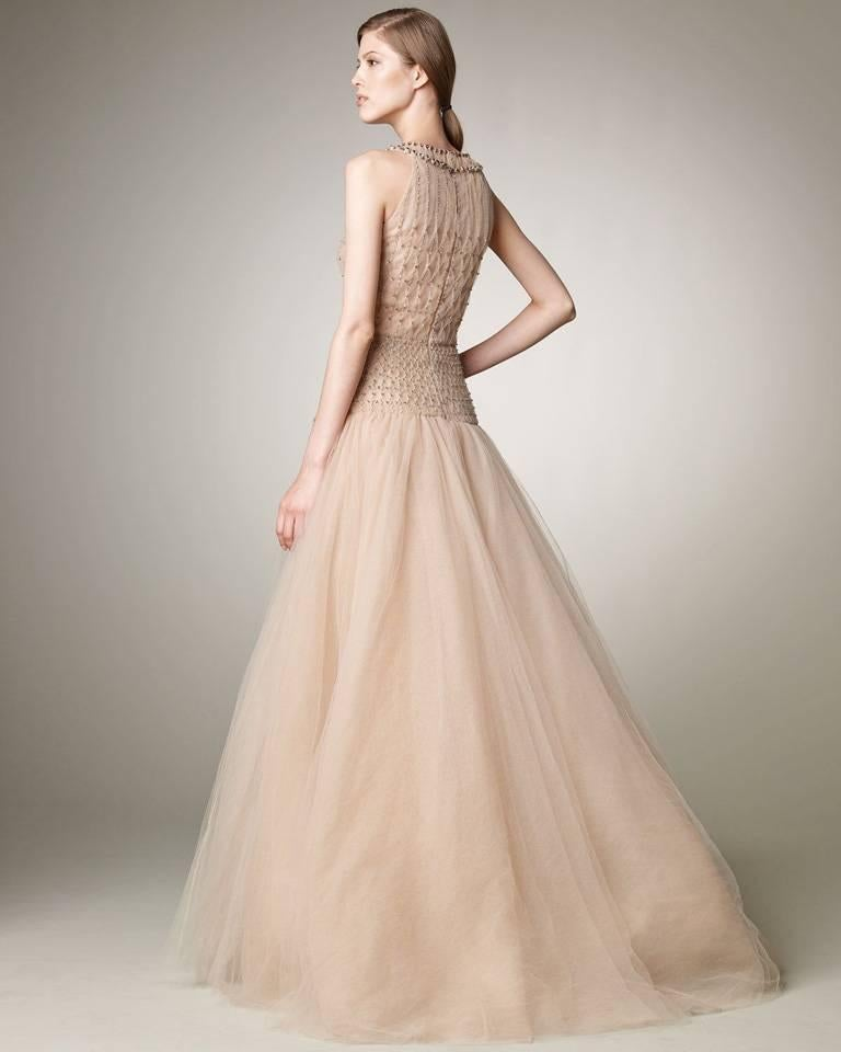 Valentino $19K Fantasy Silk Net & Tulle Beaded Pink Gown  New! In New Never_worn Condition For Sale In Los Angeles, CA