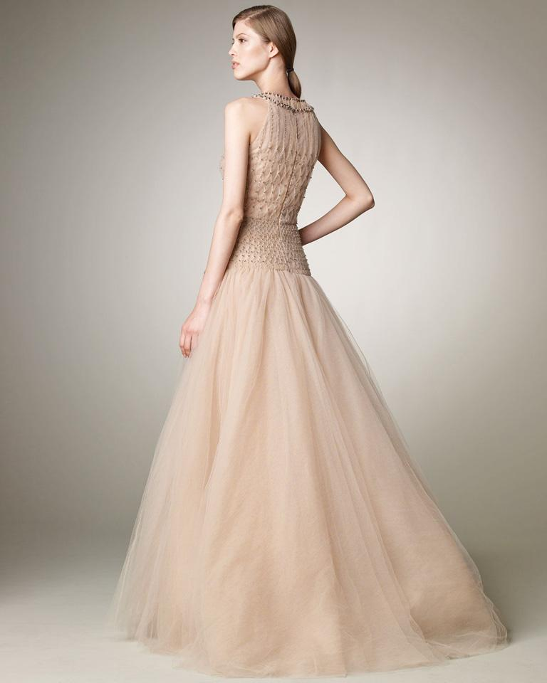 Beige Valentino $19K Red Carpet Fantasy Silk Beaded Pink Dress Gown  NWT For Sale