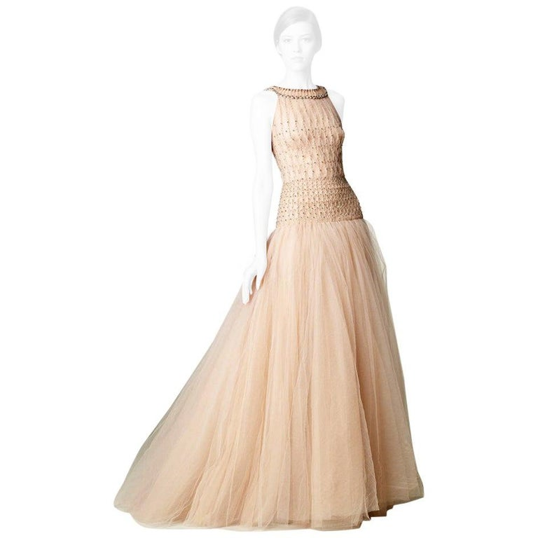 Valentino $19K Fantasy Silk Net & Tulle Beaded Pink Gown Red Carpet    NWT For Sale