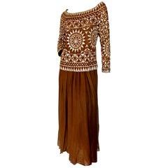 Valentino 2 Piece Medieval Mosaic Runway Vintage Silk Evening Gown