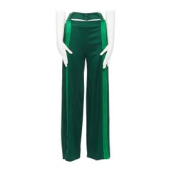 VALENTINO 2018 green pleated stripe cut  out popper button wide track pants IT36