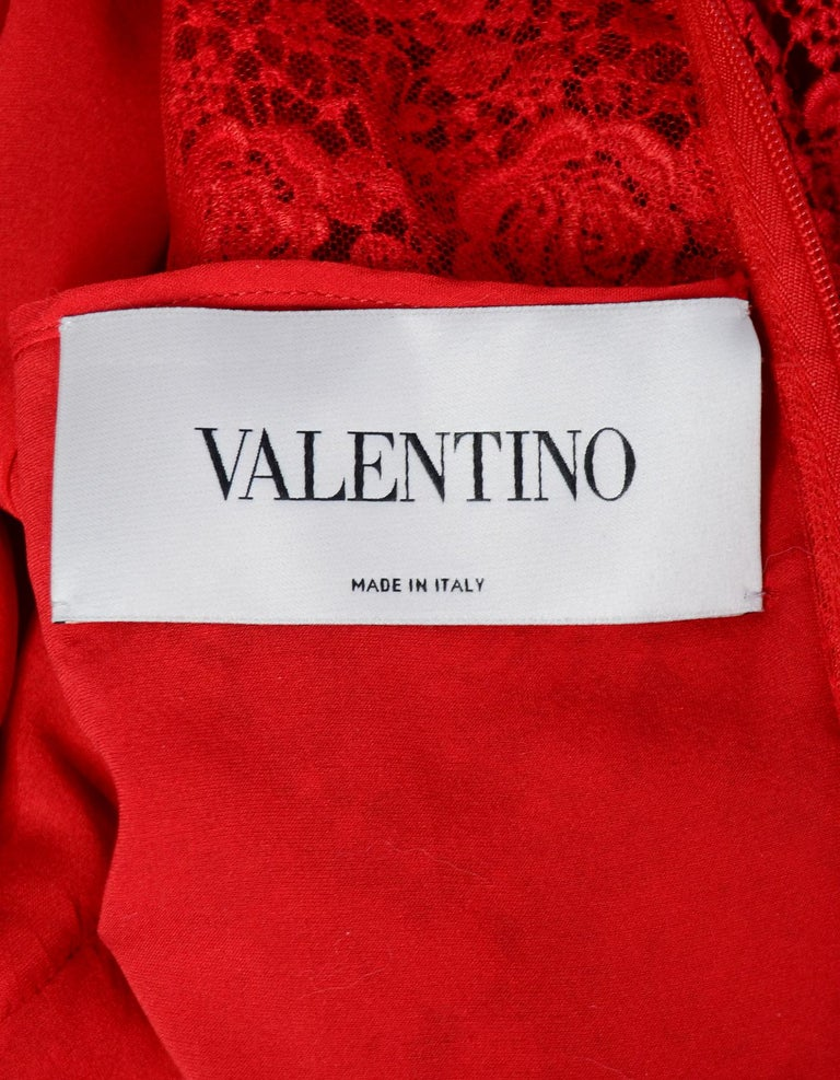 Women's Valentino 2019 Red Floral Lace Midi Dress sz 12 rt. $5,900 For Sale