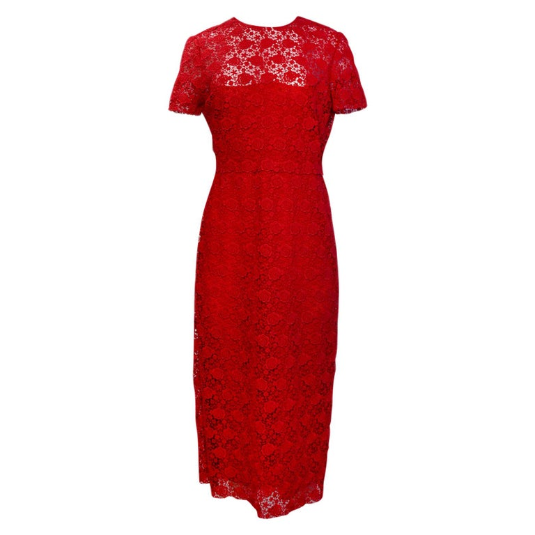 Valentino 2019 Red Floral Lace Midi Dress sz 12 rt. $5,900 For Sale