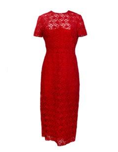 Valentino 2019 Red Floral Lace Midi Dress sz 12
