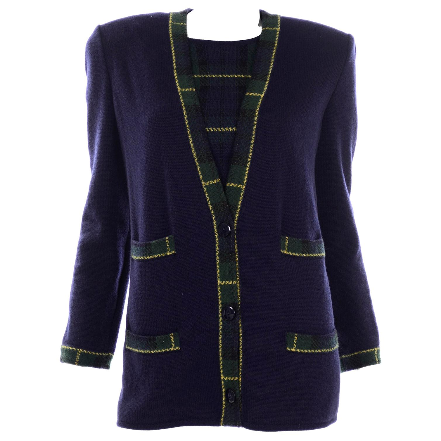Valentino 2pc Vintage Long Sleeve Top & Cardigan Sweater in Blue & Green Plaid