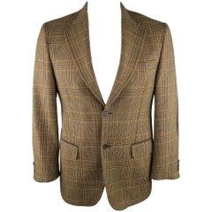 VALENTINO 40 R / IT 50 Olive Plaid Wool Sport Coat / Jacket