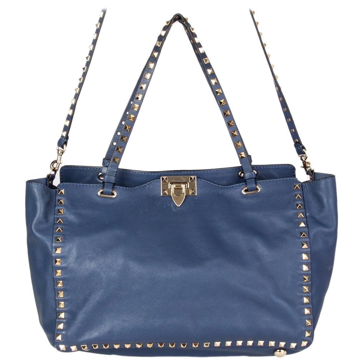 VALENTINO air force blue leather ROCKSTUD MEDIUM TOTE Shoulder Bag