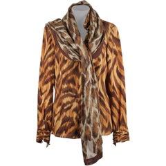 Valentino Animalier Print Silk Fabric Blouse Size 8