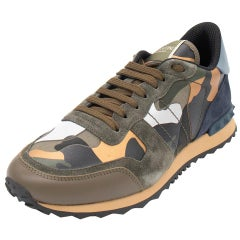 Valentino Army Green Fabric and Leather Camouflage Rockrunner Sneakers Size 42