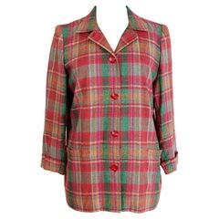 Valentino Atelier Red Green Cotton Patchwork Jacket