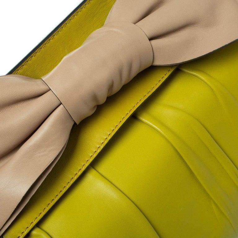 Valentino Avocado/Beige Leather Aphrodite Bow Bag For Sale 9