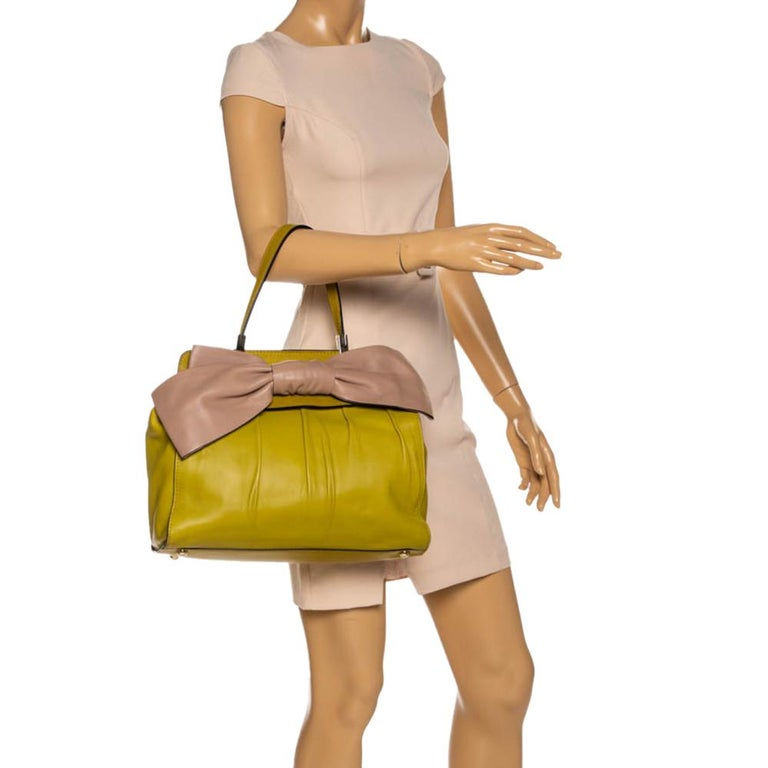 Brown Valentino Avocado/Beige Leather Aphrodite Bow Bag For Sale
