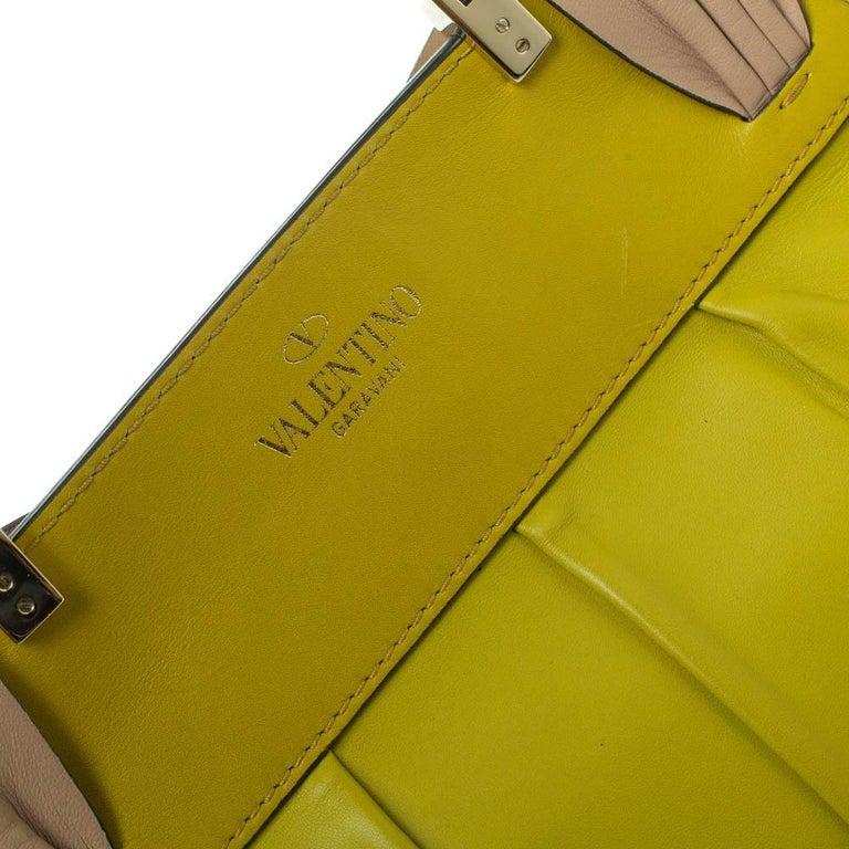 Valentino Avocado/Beige Leather Aphrodite Bow Bag For Sale 2
