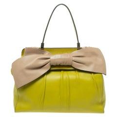 Valentino Avocado/Beige Leather Aphrodite Bow Bag