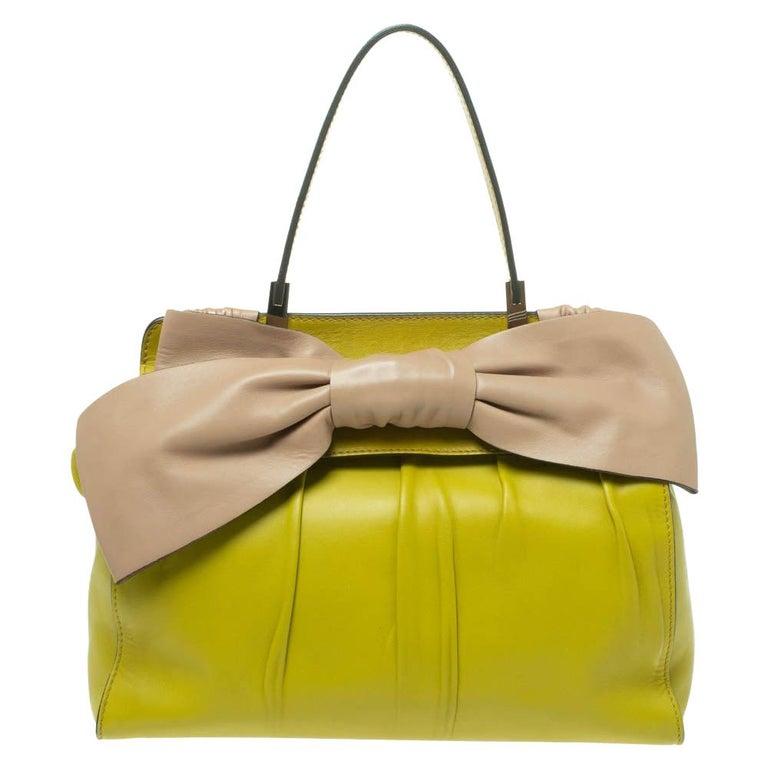Valentino Avocado/Beige Leather Aphrodite Bow Bag For Sale