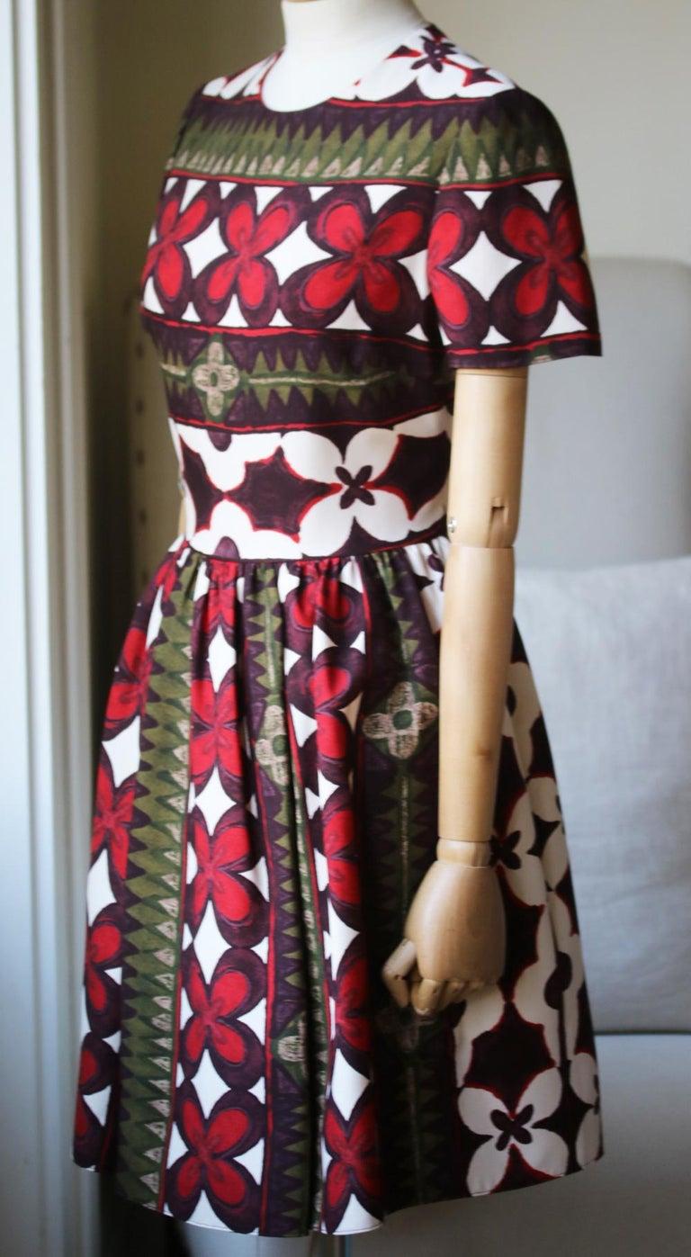 Brown Valentino Bambolina Floral-Print Silk Mini Dress For Sale
