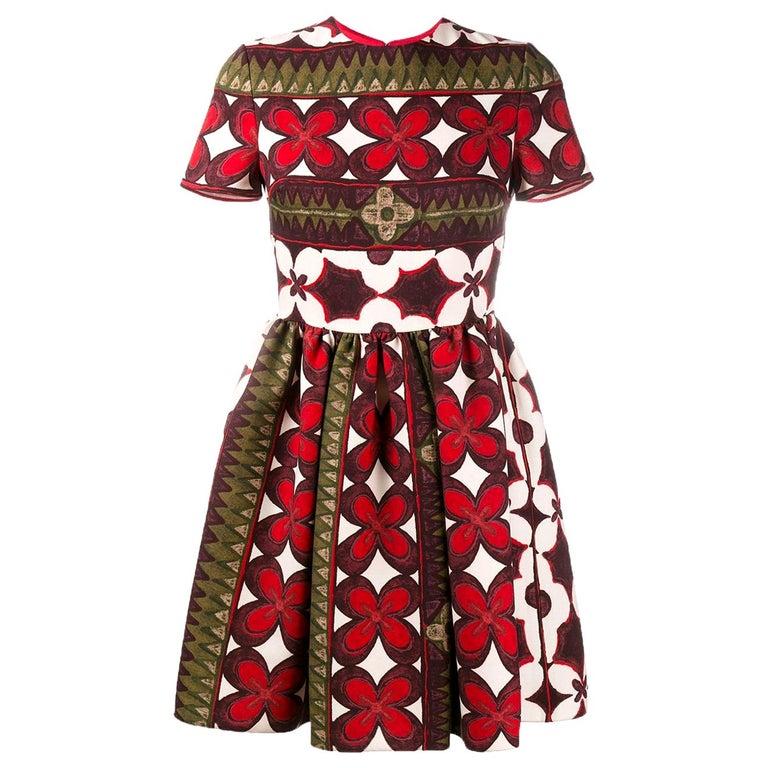 Valentino Bambolina Floral-Print Silk Mini Dress For Sale