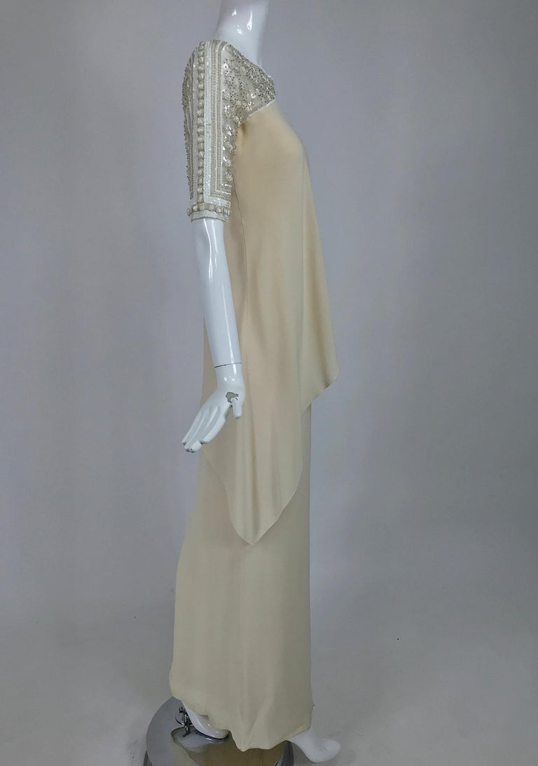 Gray Valentino Beaded Chiffon Gown Worn By Marie-Chantal Miller at Valentino's 45th For Sale