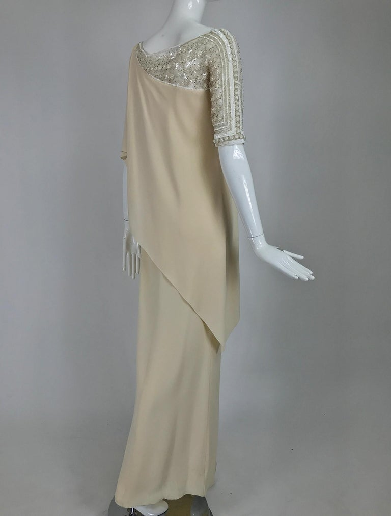 Valentino Beaded Chiffon Gown Worn By Marie-Chantal Miller at Valentino's 45th In Good Condition For Sale In West Palm Beach, FL
