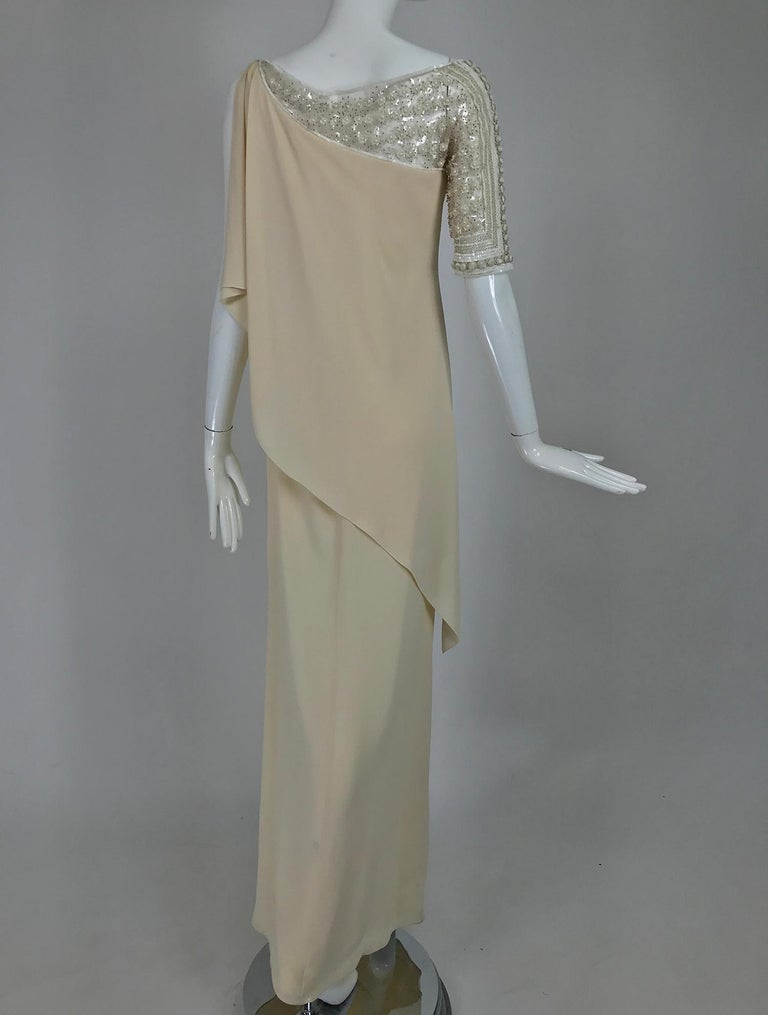 Women's Valentino Beaded Chiffon Gown Worn By Marie-Chantal Miller at Valentino's 45th For Sale