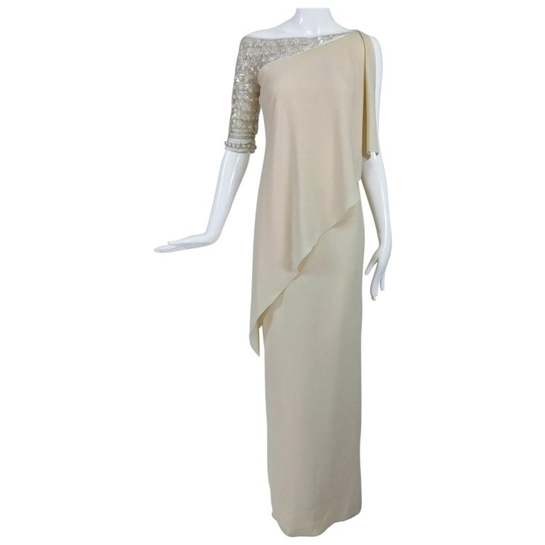 Valentino Beaded Chiffon Gown Worn By Marie-Chantal Miller at Valentino's 45th For Sale