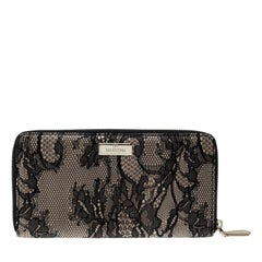Valentino Beige/Black Lace and Patent Leather Zip Around Wallet