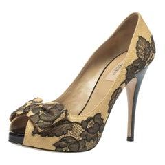 Valentino Beige/Black Lace And Raffia Bow Peep Toe Platform Pumps Size 38.5