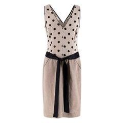 Valentino Beige & Black Linen-blend Dotted Dress - US size 8