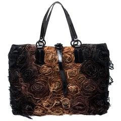 Valentino Beige/Black Silk and Patent Leather Organza Rosier Tote